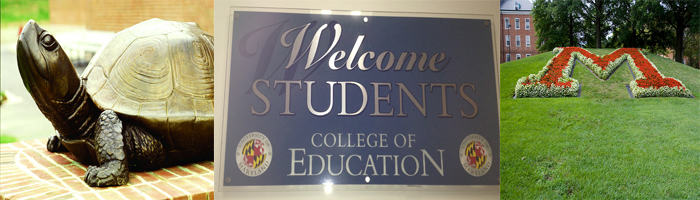 Testuo, welcome students sign and M for Maryland