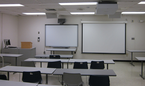 Standard two-screen technology classroom