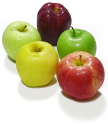 Five apples, red, green and yellow