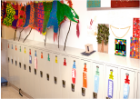 Preschool classroom with children's lockers