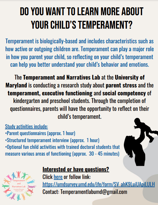 Child Temperament and Parenting Experiences Study Flyer. Includes information about temperament, the activities in the study, and how to sign-up for the study.