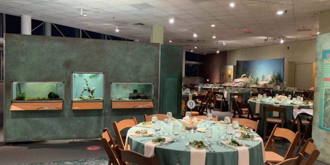 Banquet setup of tables and chairs at SMEP 2019