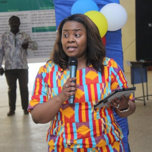Dr. Candace Moore speaking at the Institute for Educational Planning and Administration (IEPA) at the University of Cape Coast's 5th Students' Innovation Expo