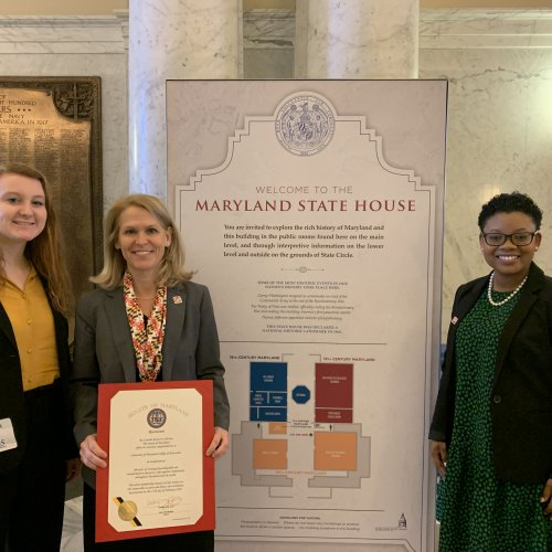 Dean Rice and two students at MD Senate