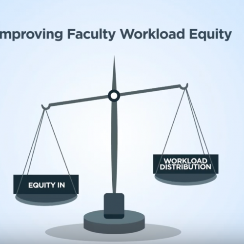 """Improving faculty workload disparity - scale showing """"equity in"""" one side and """"workload disparity"""" on other side"""