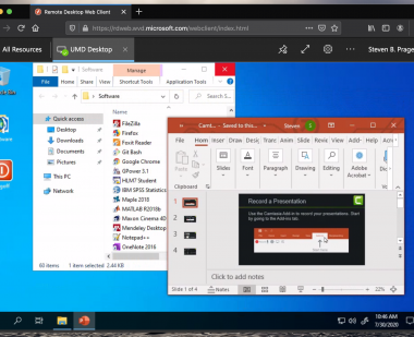 Screen shot of the DIT Virtual Workspace running an instance of PowerPoint